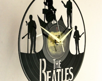 The Beatles vinyl record wall clock, ideal for home decor, unique gift present and hand made art, interior design for music fan, 005