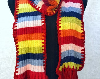 Red blue yellow scarf