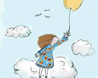 Flying girl with a balloon illustration
