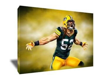 FREE SHIPPING Greenbay Packers Clay Matthews Canvas Art