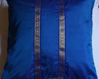 Jodhpur series 5: cushion 40x40cm (16 x 16), blues, sari silky vintage blue cotton, Indian lace, blue and gold.