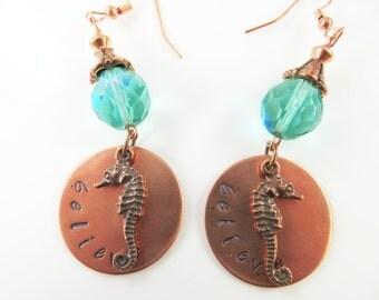 Hand stamped believe copper earrings