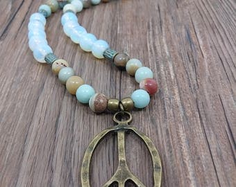 Amazonite, elegant necklace necklace, pendants, necklace, long necklace, peace symbol, style yoga, yoga, Amazonite, gift for her