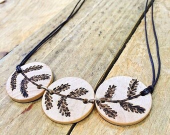 Wood Burned Branch Necklace, Pyrography