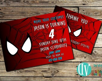 Spiderman Birthday Invitation Printable  5x7 or 4x6 and FREE Thank You Card Printable 5x3.5