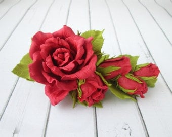 Red Rose Formal Hair Clip - Flowers Hairpin - Side Hair Piece - Flowers Hair Claw Accessories - Prom Red Flowers Handmade Hair Adornments