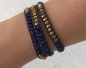 Navy blue and antique gold Czech crystal leather wrap bracelet - handmade - UK seller