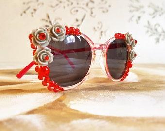 Rhinestones Sunglasses, 2017 Festival Sunglasses, Red Floral Sunglasses, Cat-Eye Sunglasses , Festival Accessories, Embellished Sunglasses