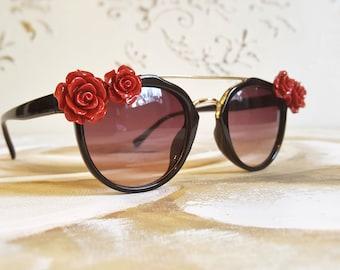 Embellished Sunglasses, Floral Sunglasses, Black Frame Sunglasses, Red Roses Sunglasses, Cat-Eye Sunglasses, Festival Accessories