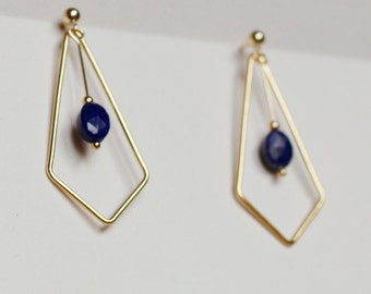 Earrings geometric gold and lapis lazuli