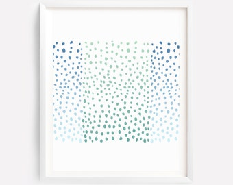 Dots Art, Abstract Art, Nursery Print, Bedroom Print, Blue Green Wall Print, Nursery Print, Blue Green Wall Art, Modern Print, Kids Wall Art