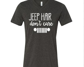 Jeep Hair Don't Care Heather Gray V-Neck Tee