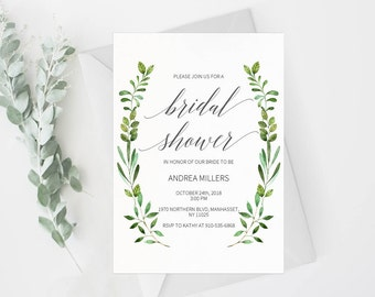 Bridal Shower Invitation Template, Rustic Bridal Shower Wedding Printable, Wedding Shower Template, Shower Invite,PDF Instant Download #E018