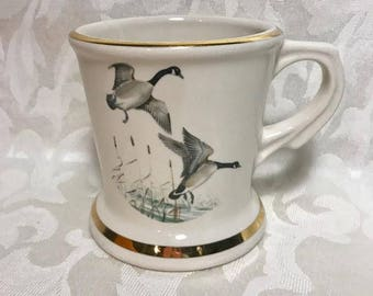 Atlas Vintage Shaving Mug, Canadian Geese, Duck, Game Birds, Father's Day, Gift For Dad, Shaving Cups, Cream, Gold Trim, Barber