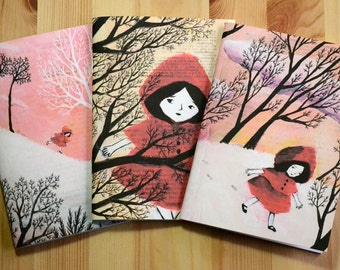 3 small illustrated notebooks - Little Red Riding Hood in the Snow