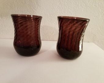 Vintage Handcrafted Blown Glass Swirl Pattern Deep Purple Tumblers