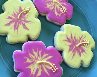 Hawaiian Hibiscus Decorated Sugar Cookies - 1 Dozen