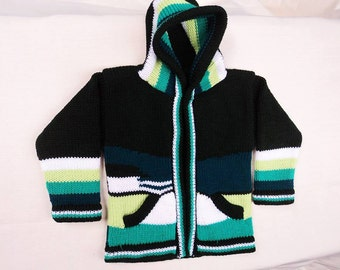 Wool Sweater for children made in Peru, kids hooded sweater