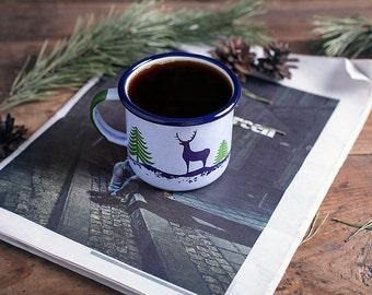 Tea cup, camp cup, camping mug, gift for men, annibersary gift for him, enamel travel mug, vintage mug, outdoor mug, Forest - Deer mug,