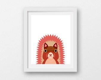 cute squirrel wall art, printable squirrel art