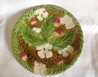 French Vintage Majolica Strawberry design plate, Antique, Home Decor