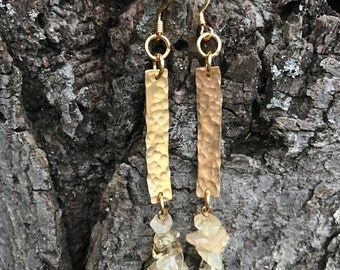 Brass and citrine earrings