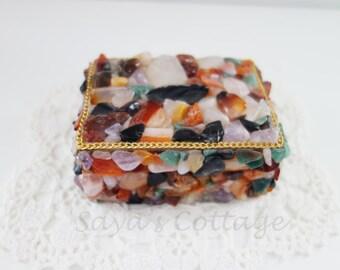 Keepsake Box / Jewelry Case Box /Ring Box/ Decorated with Stones and Rocks / Stone Box / Colorful/ Handmade / Gift Box / Trinket Box
