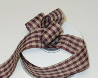 "Country checker ribbon burgundy tone, 25 yards, 1"" wide"