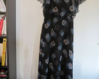 Long Sleeve Dress with Bat Sleeves - Viscose Sail - Black with Big Blue Flowers