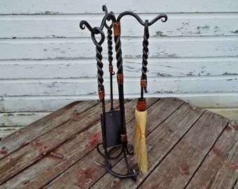 Blacksmith forged fireplace tool set. Heirloom quality hand forged wrought iron poker. Hammer copper broom poker shovel fire place decore