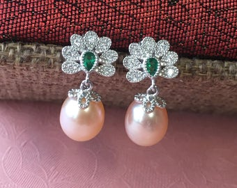 Mothers Day gift for grandma freshwater pearl earrings sterling silver