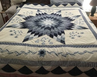 This is an 80x82 full size hand quilted quilt with 2 matching shams, done in blues.