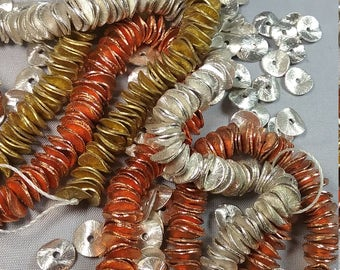 "Copper Spacer Beads - Brushed Wavy Cornflake - 6mm 8mm 12mm Full 8"" Strands"