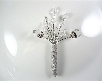 Crystal  Boutonniere  - Silver Boutonniere - Wedding Boutonniere - Prom Boutonniere