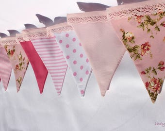 Handmade  rose bunting with lace for decoration
