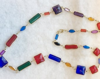 Vintage Colorful Link Necklace with Faceted Faux Gemstones