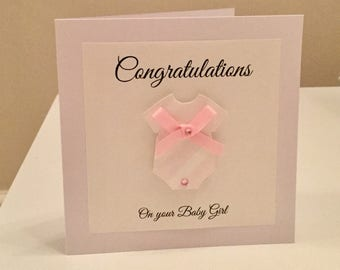 Baby girl card - new baby girl card - baby girl - it's a girl card - new baby girl - congratulations baby girl