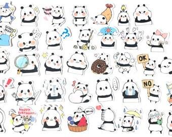 40pcs Panda Sticker—Scrapbooking Stickers, Cut Out Planner Stickers,  Korean Stationery,Laptop Sticker,Phone Sticker