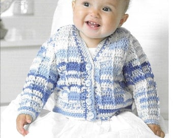 Crochet pattern King Cole 4417 D.K. cardigan and waistcoat size 12~22ins