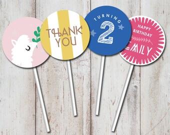 Llama Cupcake topper, Llama Birthday, Printable, Personalized, Party, Stripes, leaf, pink, yellow, blue DIGITAL DIY