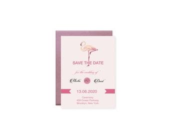 Digital Wedding Invitation / Digital Flamingo Invitation / Summer Wedding Invitation / Save The Date