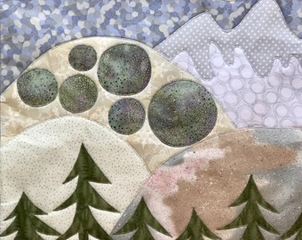 Quilted Appliqued Fabric Wall Hanging- ROUND MOUNTAIN-Original Fabric Wall Decor
