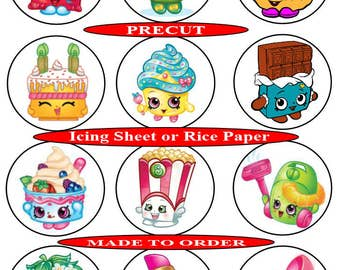 Shopkins pre-cut edible cupcake toppers, 2 sizes