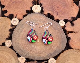 Handmade Fused Glass Earrings,Rainbow Earrings, ColourfullEarrings, Shimmery Earrings, Statement Earrings, Gift for her,  Gift for mom,Glass