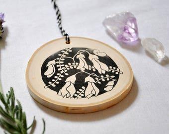 Hand printed silver birch slice/ wood decoration kowhai flower circle nz