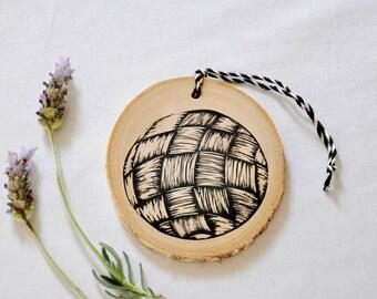 Hand printed silver birch slice/ wood decoration flax harakeke circle nz