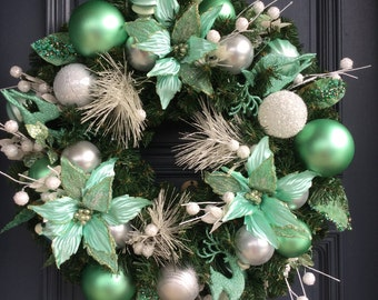 Christmas Wreath in Mint Green, White and Silver
