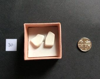 Cream Sea Pottery Stud Earrings