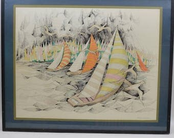 """Vintage Nautical Signed """"The Gathering Storm"""" Lithograph Sailboats on the Sea"""