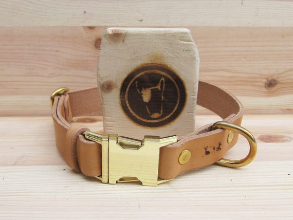 Quick Release Dog Collar, Tan Leather Dog Collar, Metal Side Release Buckle Dog Collar, Handmade Dog collar, Classic Custom Dog Collar